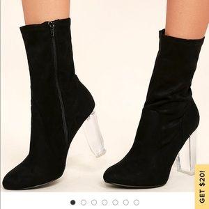Lulu's black suede calf length booties